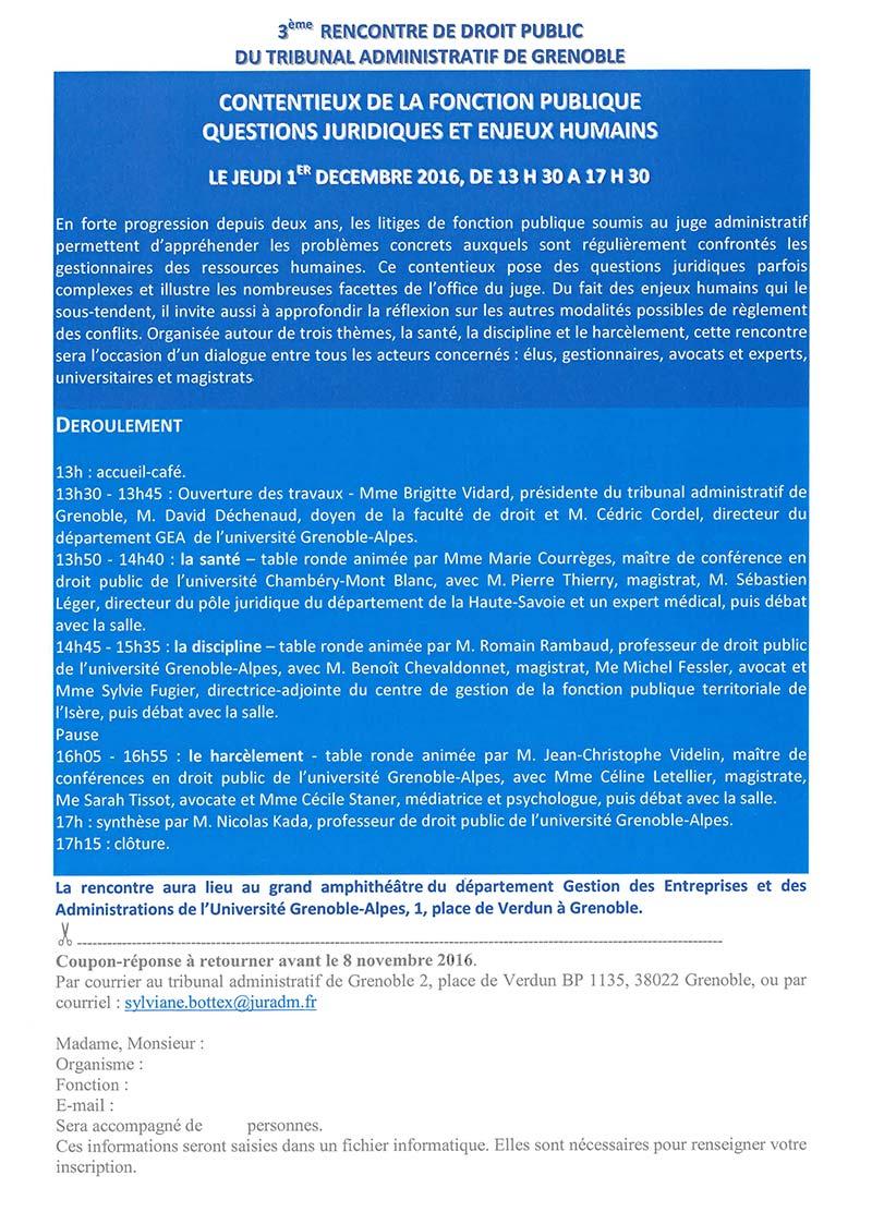 3e rencontre de droit public du Tribunal administratif de Grenoble « Le droit public et la gestion des Ressources Humaines »