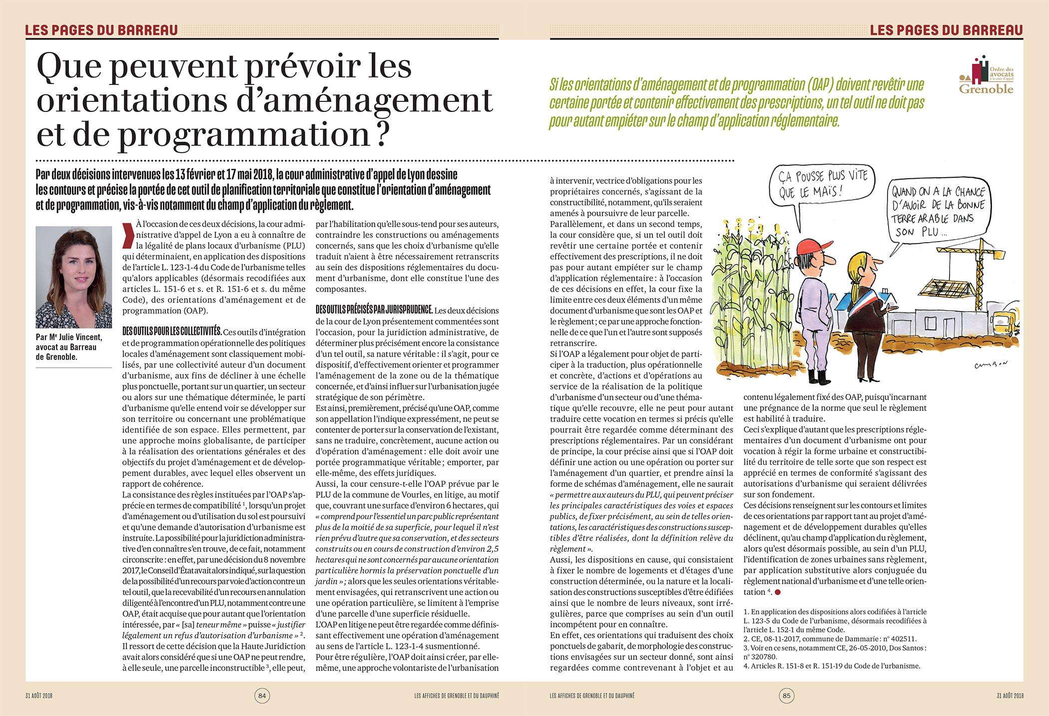 Les pages du barreau : Que peuvent prévoir les orientations d'aménagement et de programmation ?
